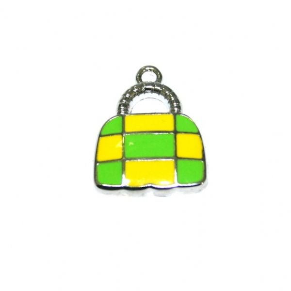 1 x 21*16mm rhodium plated cute handbag with green / yellow checks enamel charm - SD03 - CHE1222